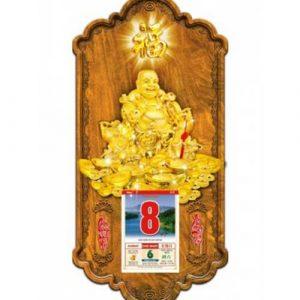 Lịch gỗ 3D di lặc vàng
