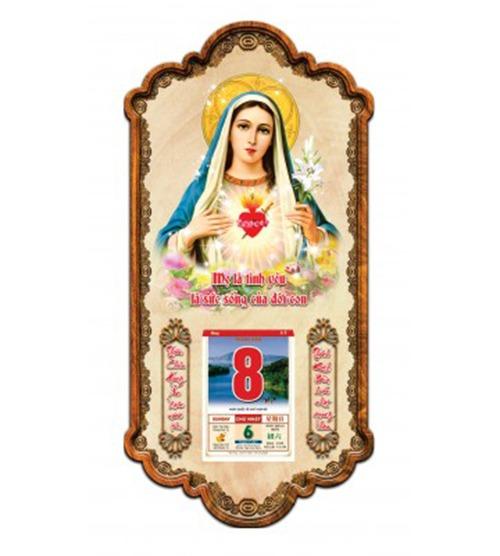 lịch gỗ 3D mẹ maria-V4