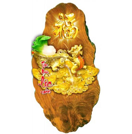 lịch gỗ 3D tỳ hưu vàng-V2